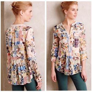 Maeve Abella Pintuck Floral Crochet Trim Blouse 10